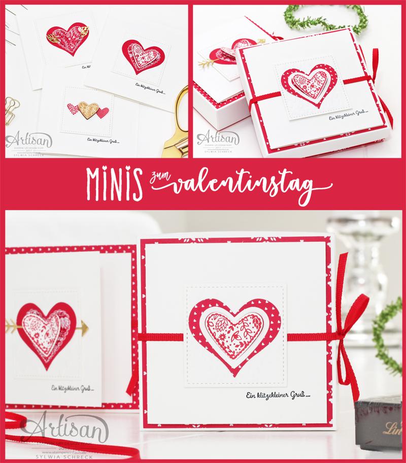 Valentinstag Mini Karten und Verpackung mit Stampin up Artisan Sylwia Schreck