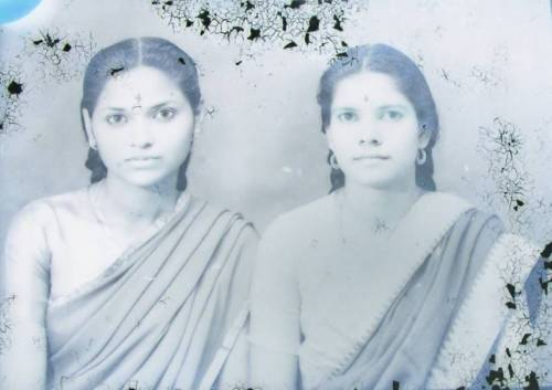 Two Beautiful Woman in Sari - Glass Negative India 1930's