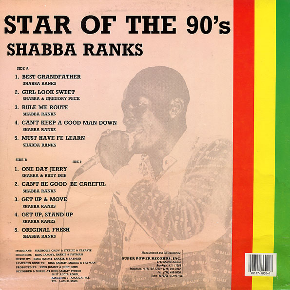Shabba Ranks - Star Of The 90's (jammy's 1988)