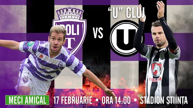 "AMICAL: Politehnica Timișoara v. ""U"" Cluj ( 17 feb, Stadion Știința)"