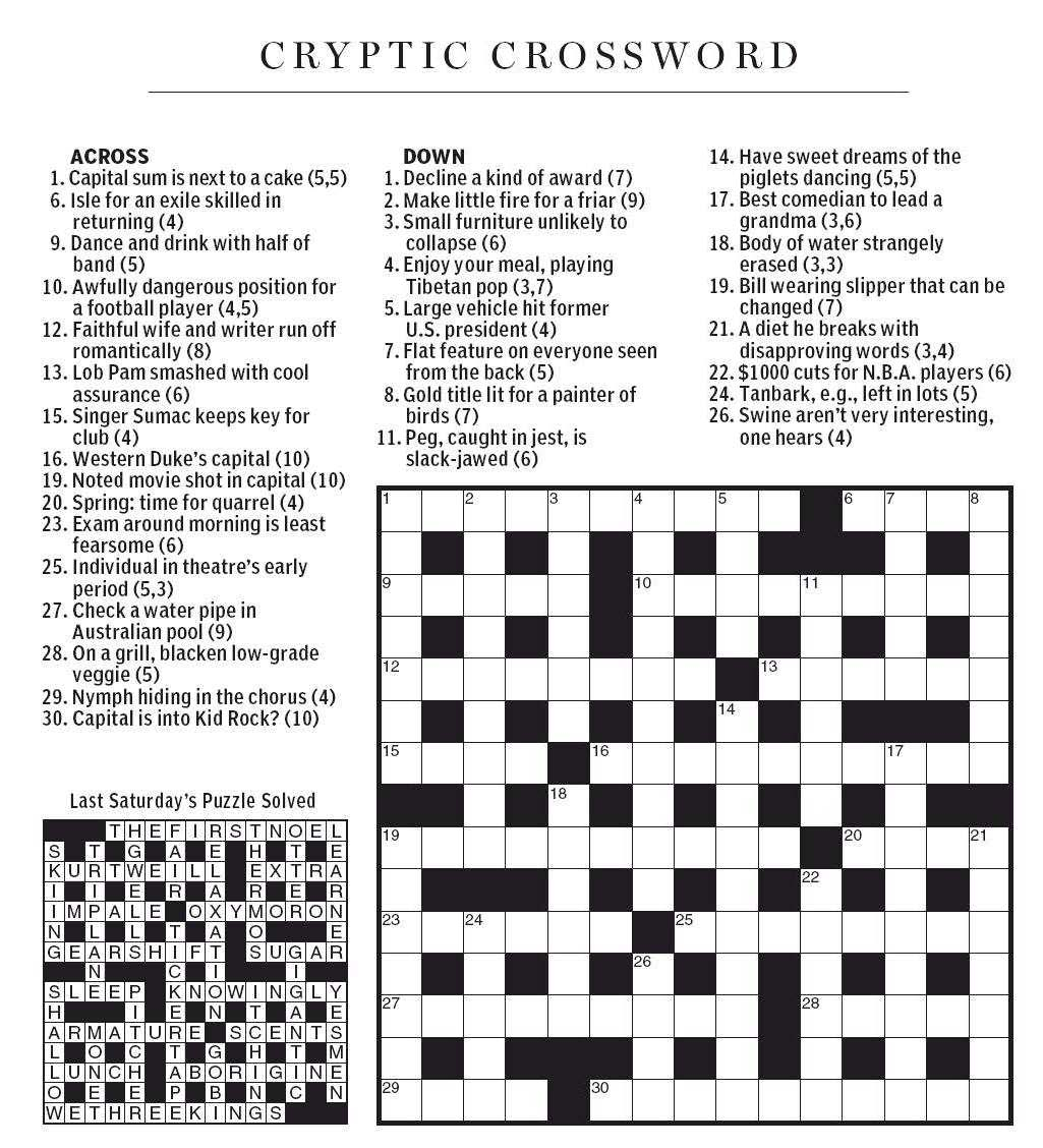 National Post Cryptic Crossword Forum December