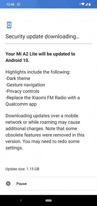 تحديث Android 10 لهاتف شاومي Mi A2 Lite