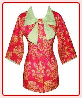Model Baju Batik Kombinasi Polos Modern Terbaru