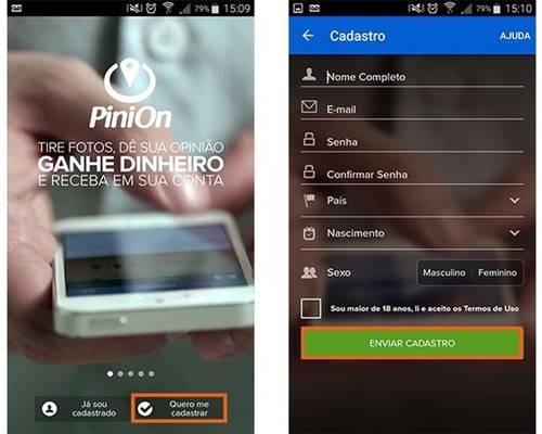 Faça o cadastro com suas informações pessoais no PiniOn