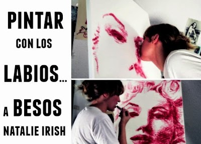Pintar con los labios y a besos artista Natalie Irish