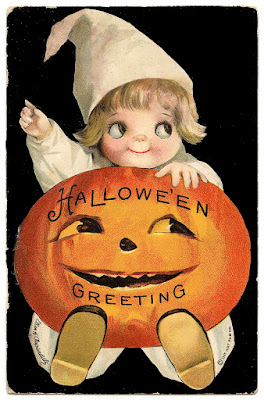Vintage, colored art of child holding a jack-o-lantern which reads Halloween Greetings