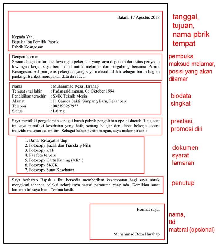 format surat lamaran pabrik