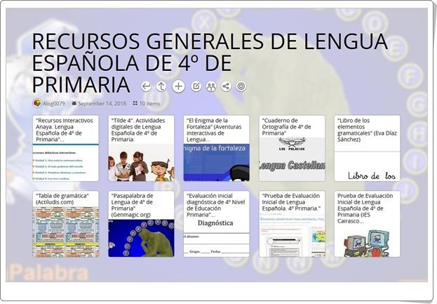 """10 RECURSOS GENERALES DE LENGUA ESPAÑOLA DE 4º DE PRIMARIA"""
