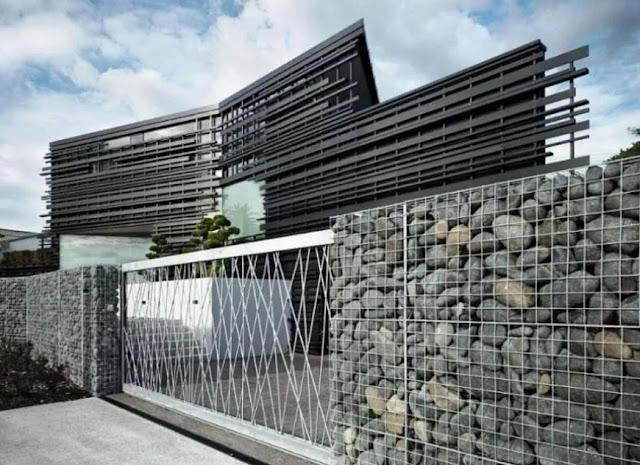pagar rumah minimalis dengan batu alam