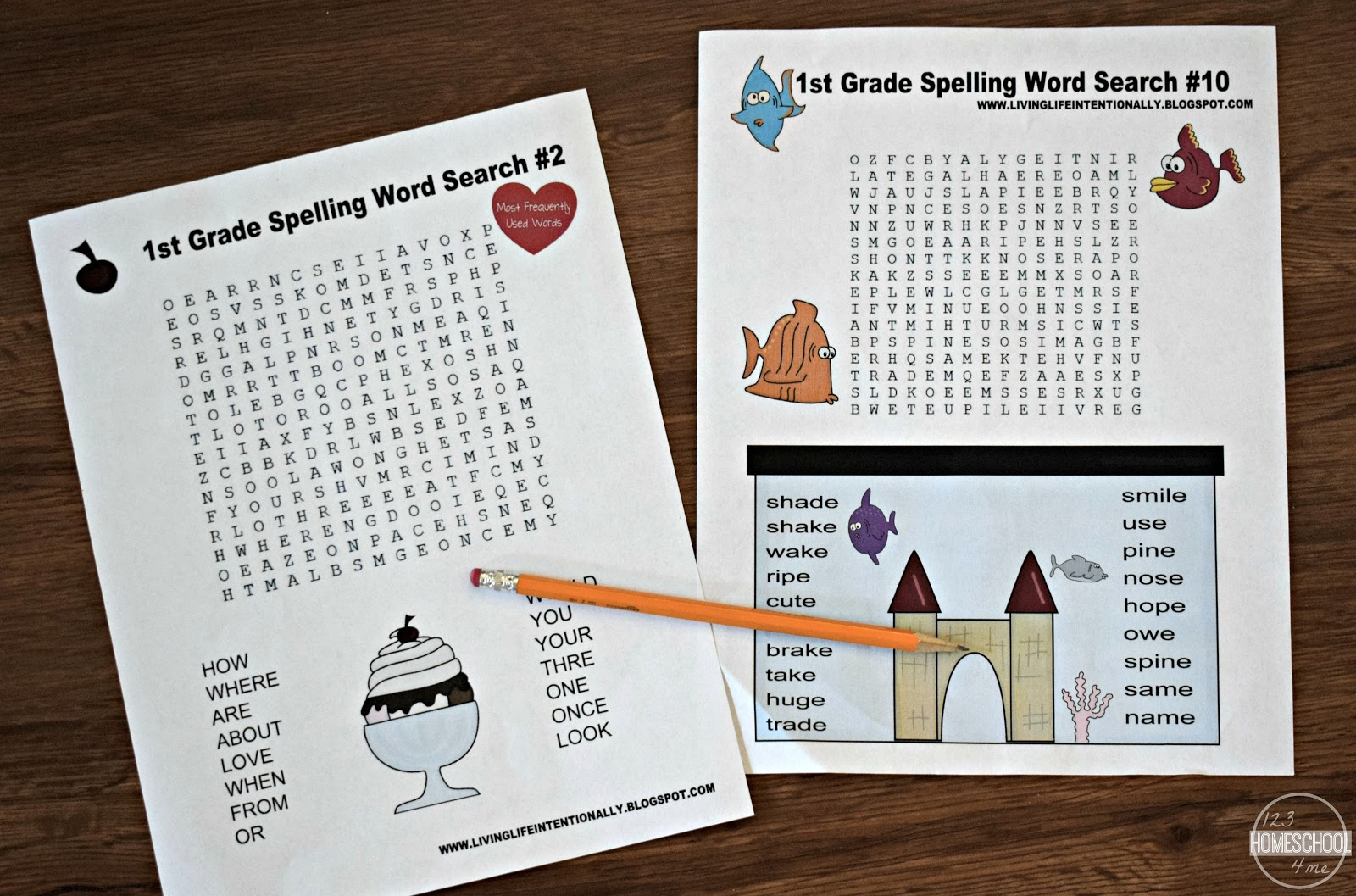 Free 1st Grade Spelling Word Searches