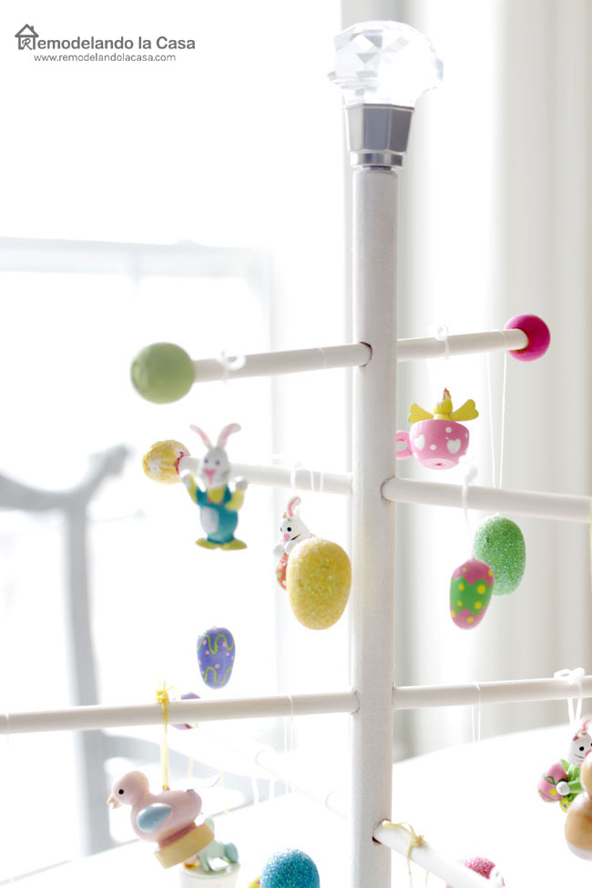 Make an Easter Egg tree with round dowels