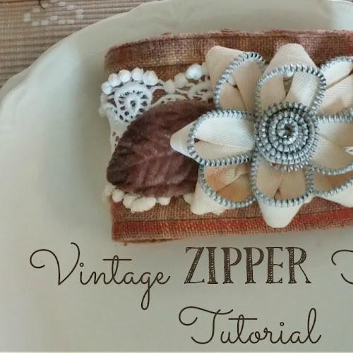 Vintage Zipper Flower Tutorial & Upcycled Shirt Cuff Bracelets!