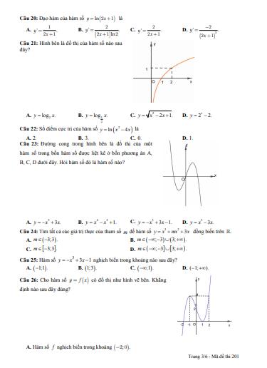 Đề thi học kì 1 môn toán lớp 12