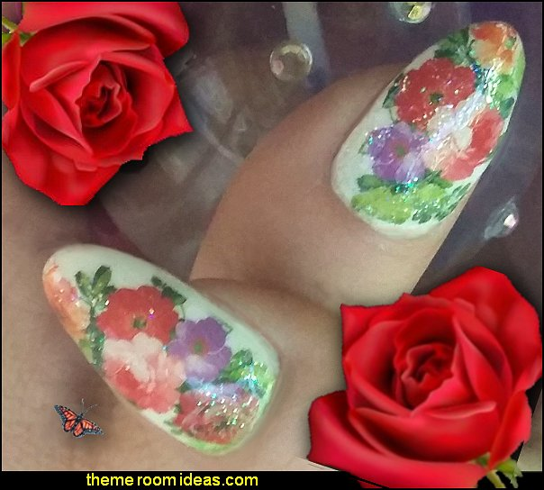 floral water decals nail decorations nail stickers