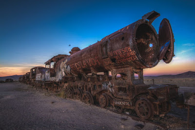 Rusted trains in Bolivia need a lot of love and attention.