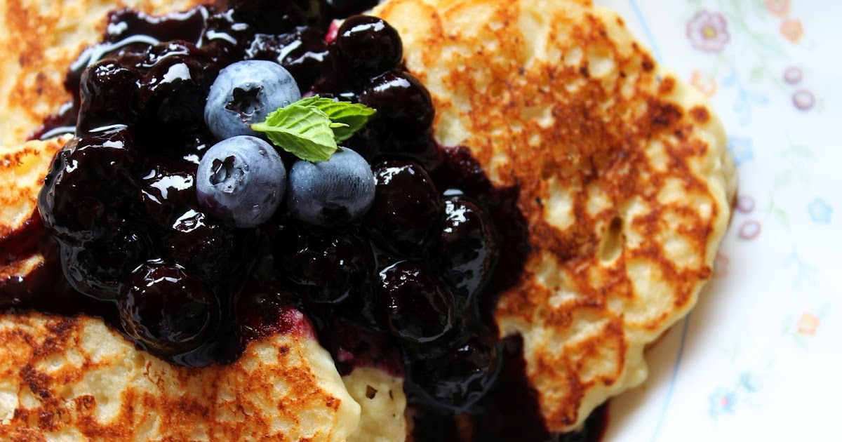 What A Dish!: Lemon-Ricotta Pancakes with Blueberry Sauce