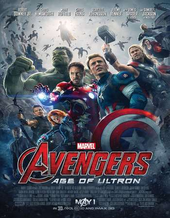Poster Of Avengers Age of Ultron 2015 Dual Audio 160MB BRRip HEVC Mobile ESubs Free Download Watch Online Worldfree4u