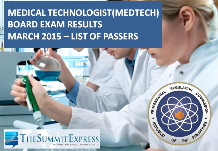 List of Passers: MedTech board exam results March 2015
