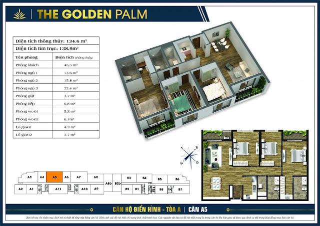 Mặt bằng căn A5 tòa A chung cư The Golden Palm