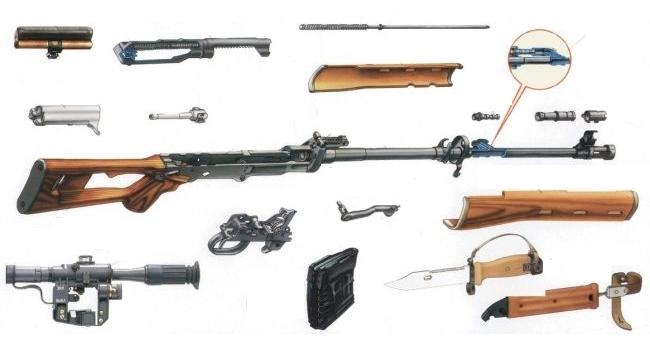 основні частини снайперської гвинтівки Драгунова (СГД)