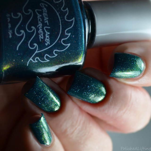 teal polish with aurora shimmer