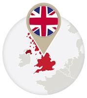 British flag and map