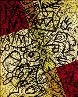 Zeitgenössische Kunst >Ohne Titel 42<  Acryl und Blattgold auf Leinwand, DIN A 4