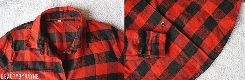 Romwe Lapel Plaid Red Blouse review