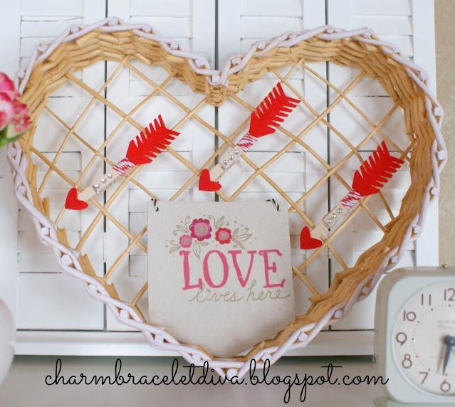thrifted heart shaped basket Valentine decor