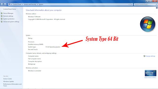 Pada system type jika bertuliskan 64 maka windows sobat bertype 64 bit
