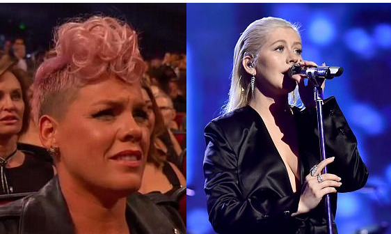 """Pink reacts to her viral """"unimpressed' look during Christina Aguilera's Whitney Houston tribute"""