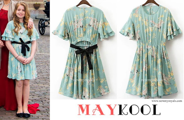 Princess Alexia wore Maykool teal cranes print ruffles decor layered pleated casual dress