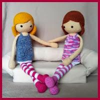 Muñecas rubia y morena amigurumi