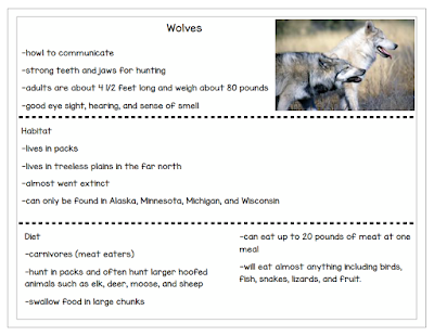 Example of notes for elementary student expository writing.