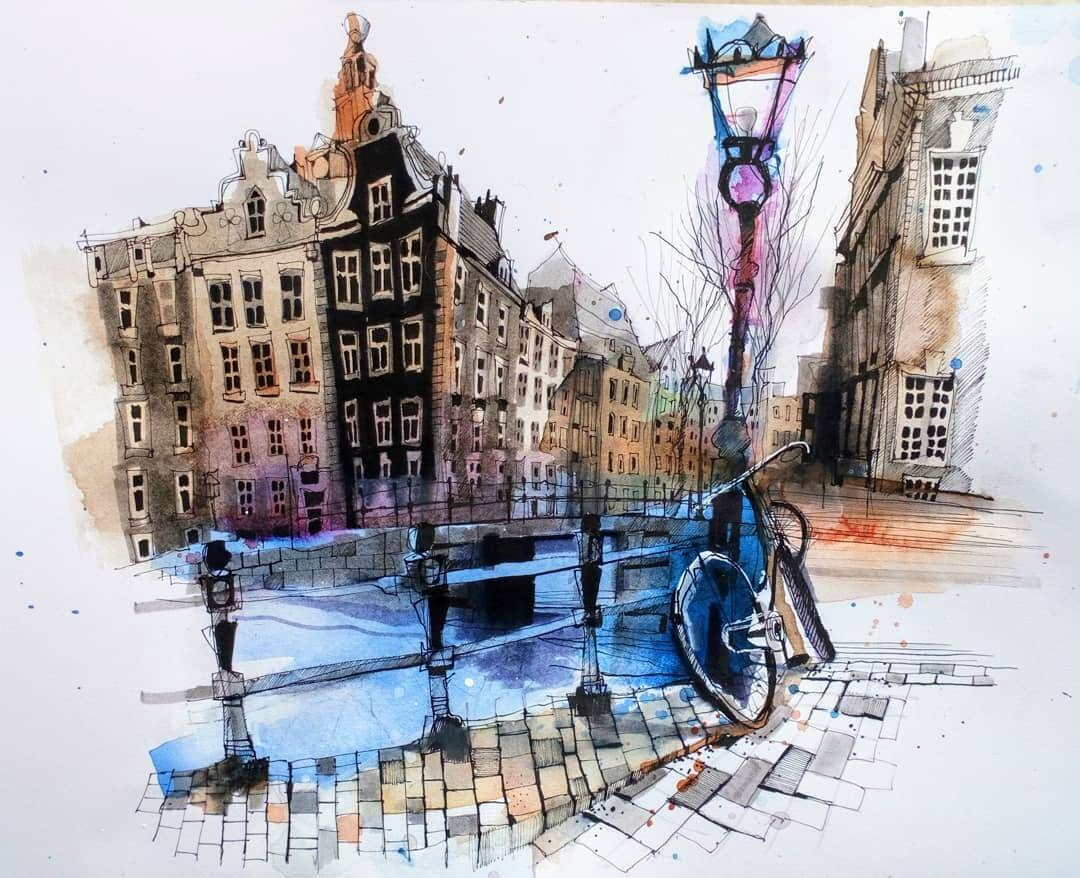 09-Kloveniersburgwal-Amsterdam-Ian-Fennelly-Urban-Sketches-Colorfully-Painted-www-designstack-co