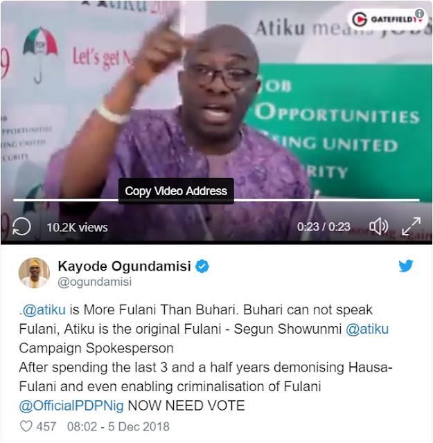 President Buhari Cannot Speak Fulani Language – Sowunmi [VIDEO]