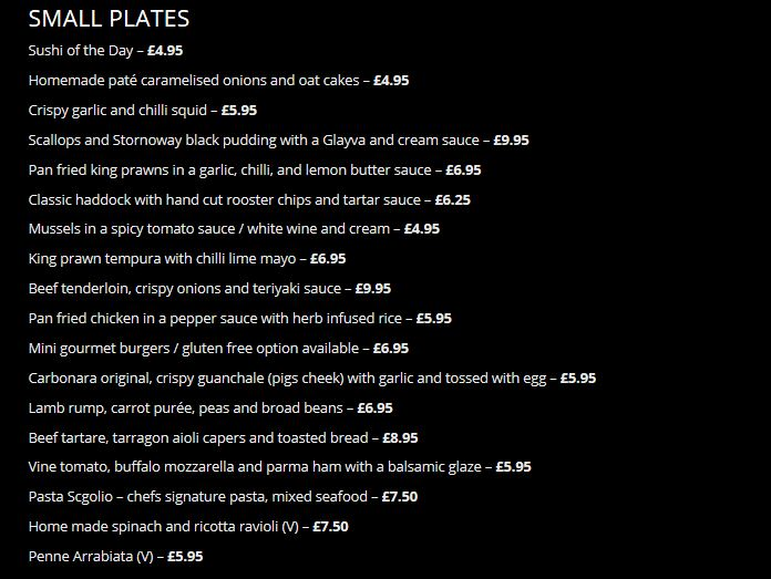 The Black Dove Small Plates Menu