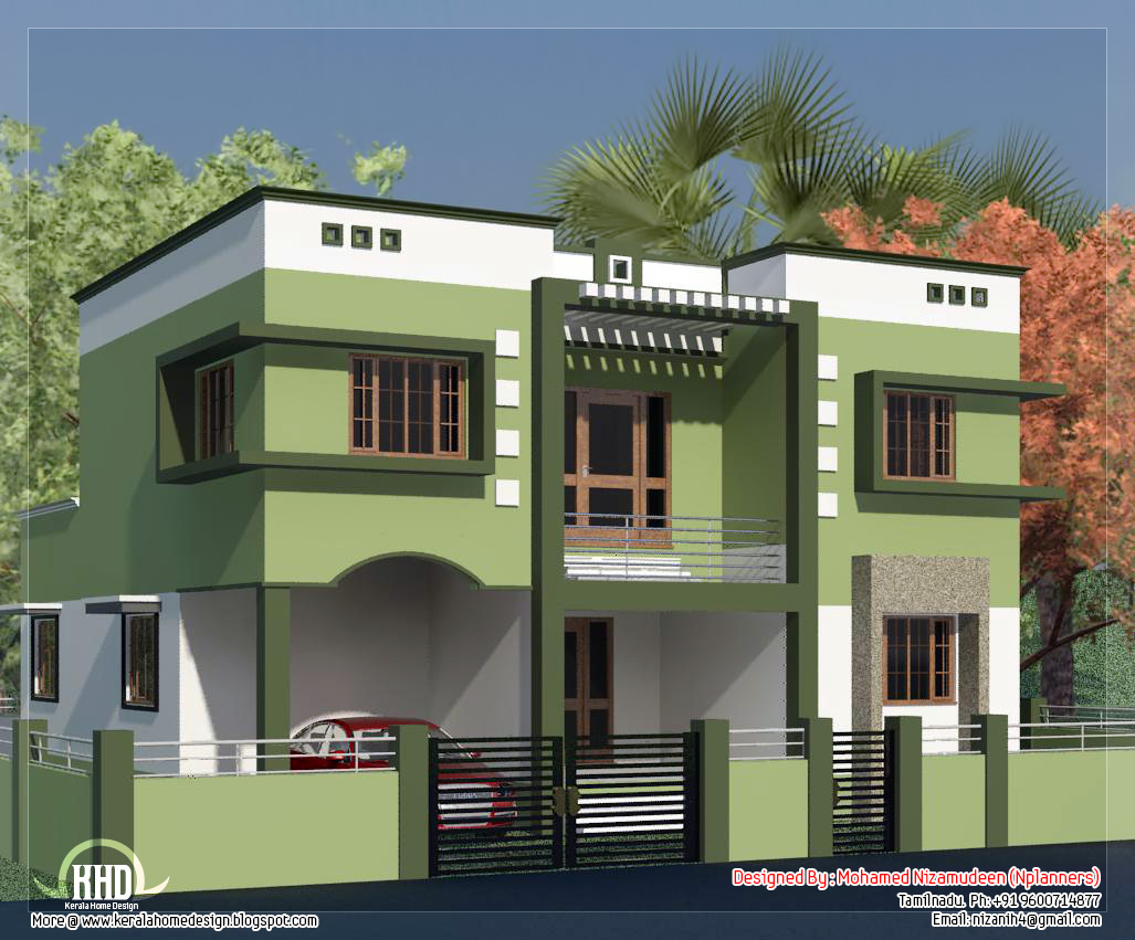 Nadu Building Plan Elevation Front View : Tamilnadu style minimalist sq feet house design