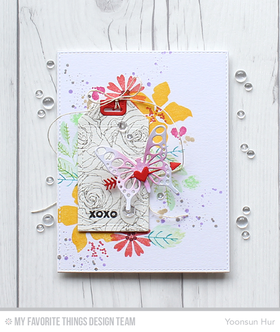 Butterfly Floral Rhapsody Card by Yoonsun Hur featuring the Modern Blooms, So Much Love, and Distressed Patterns stamp sets, the Roses All Over Background stamp, and the tag Builder Blueprints 5, Flutter of Butterflies - Lace, and Blueprints 25 Die-namics #mftstamps
