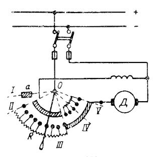 Схема включения комбинированного пуско-регулировочного реостата