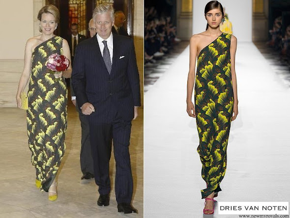 Queen Mathilde of Belgium wore a printed dress from Dries Van Noten SS 2018 collection