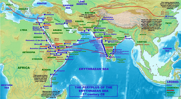 Locations, names and routes of the Periplus of the Erythraean Sea (1st century CE).