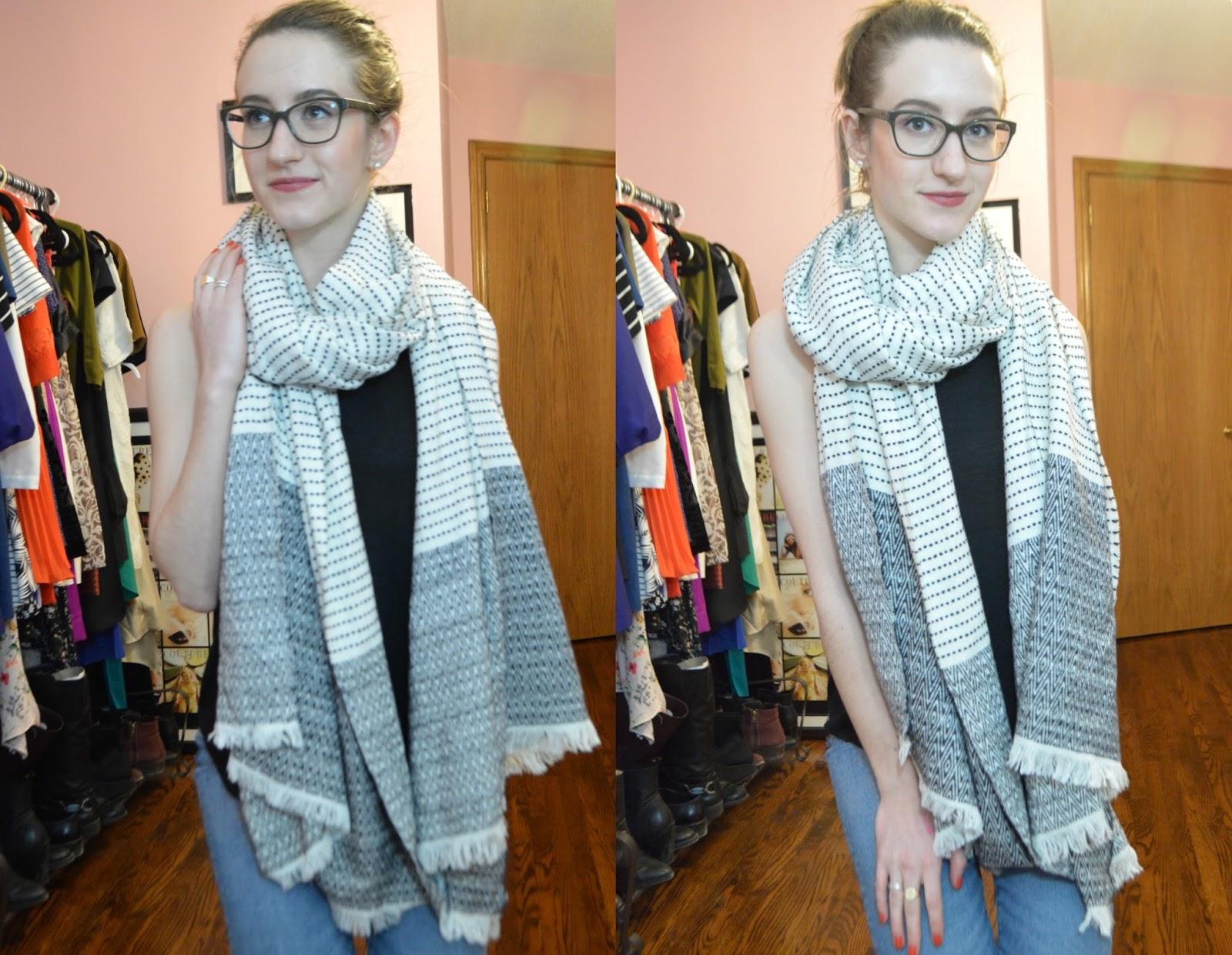 Cozy textured blanket scarf