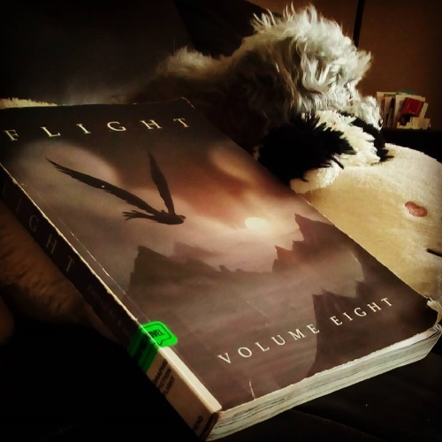 A fuzzy grey poodle, Murchie, perches atop a fluffy, cow-shaped pillow. Below him, leaning up against the pillow, is a trade paperback copy of Flight Volume Eight. Its cover features an enormous winged creature silhouetted against a golden, reddish, purple sunset, with misty mountains visible down below.