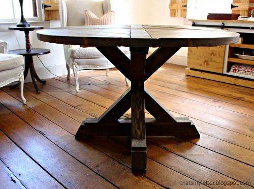 That 39 s my letter diy x base circular dining table for Ana white x dining room table