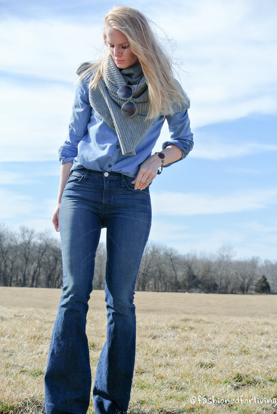 Fashioned For Living: Denim On Denim. Flare Jeans Outfit