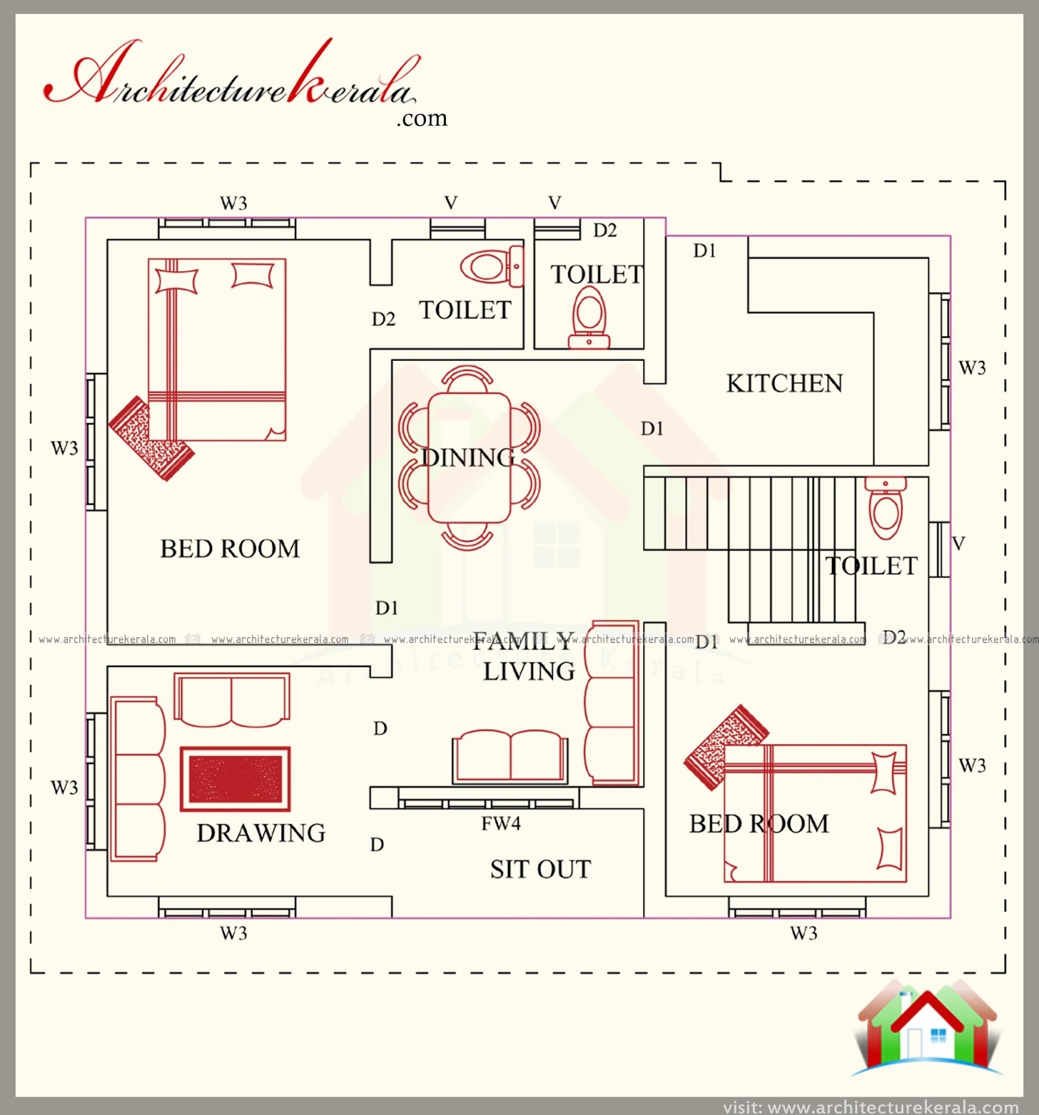 3 bedroom house plan with elevation architecture kerala for 3 bedroom plan in kerala