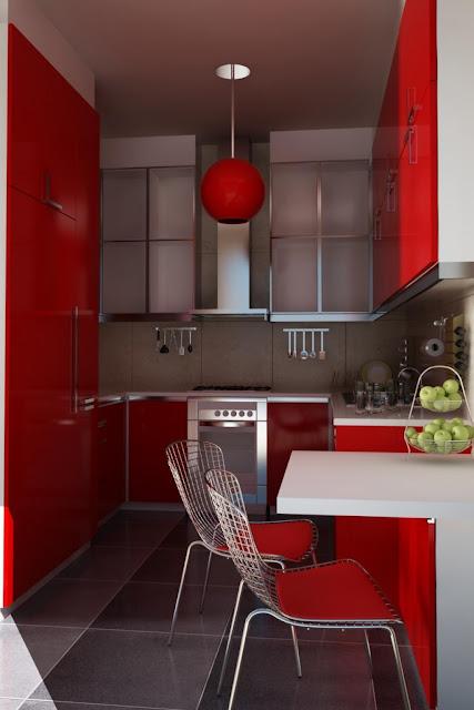 Desain dapur kecil minimalis dengan warna merah, putih dan abu abu