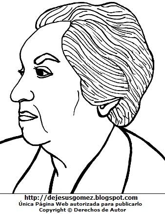 Ilustración de Gabriela Mistral para colorear dibujar. Dibujo de Gabriela Mistral hecho por Jesus Gómez
