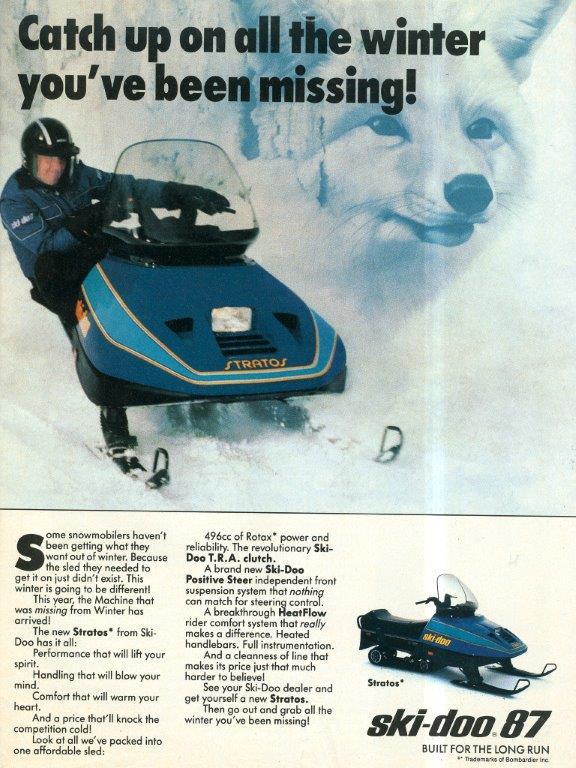 1987 SKI DOO STRATOS SNOWMOBILE